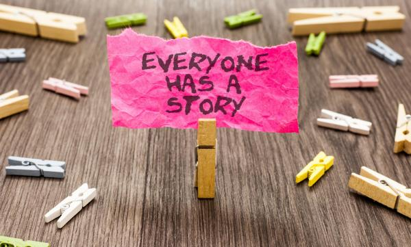 Image of a post it with words do you have a story to tell