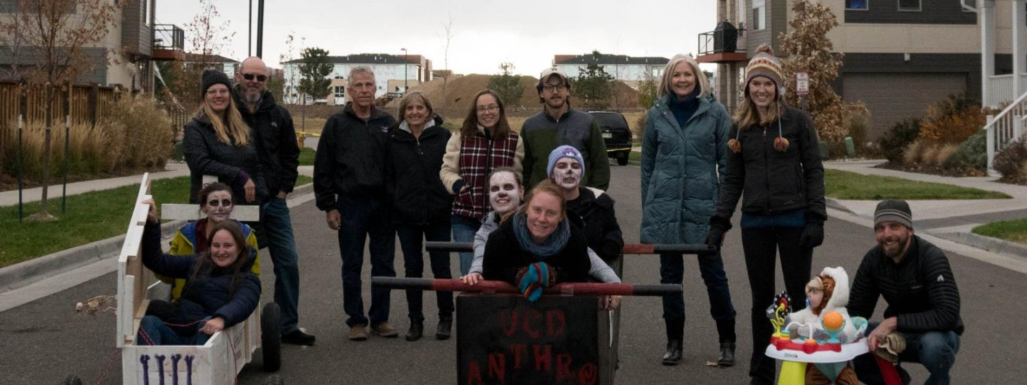 Students and faculty at coffin race