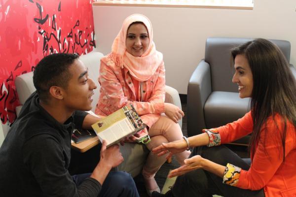 3 international students talking