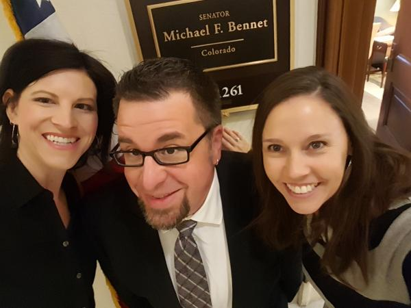 Sarah, Bud, and Miranda at Senator Bennet's office.