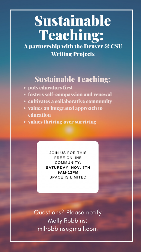 Sustainable Teaching Saturday Workshop November 7th 2020