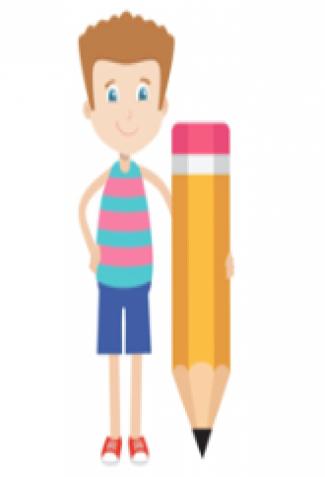 Boy holding a pencil