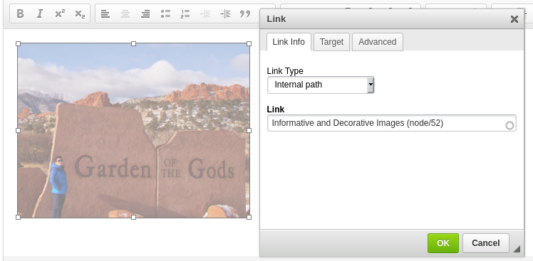 example of setting link on an image in the page editor