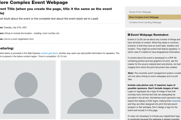 example of a more complex event webpage