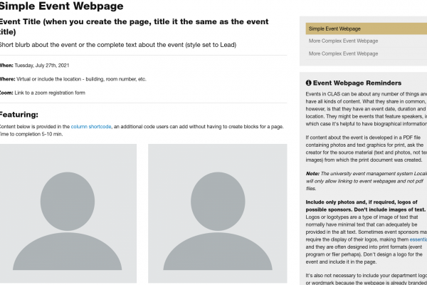 example of a simple event webpage