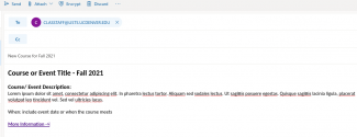 example of a text e-mail in outook with a link to the webpage for more information