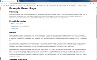 Example of a page advertising an event