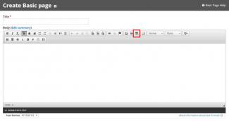 Use the Table icon in the WYSIWYG editor toolbar.