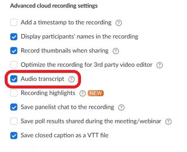 Enable audio transcript