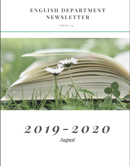2019-2020 newsletter cover, featuring open book in grass