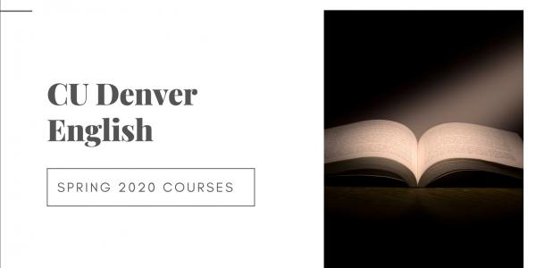 Open book next to text reading CU Denver spring 2020 course descriptions