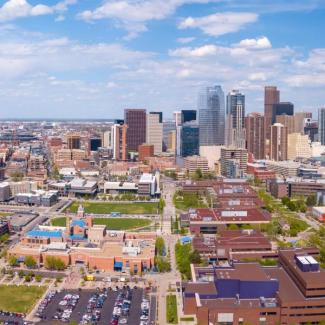 Aerial view of downtown CU Denver campus