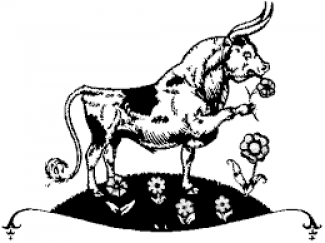 Cartoon of a bull smelling flowers