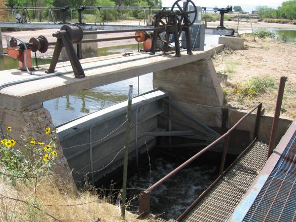 Irrigation headworks on the south platte river