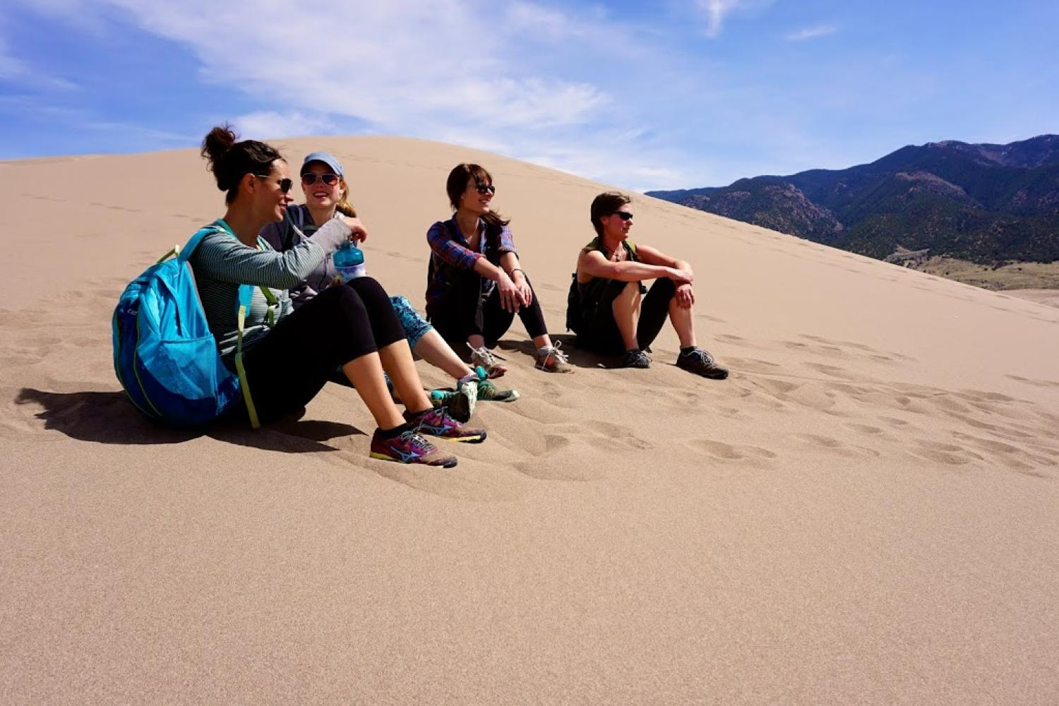Students in the field on sand dunes
