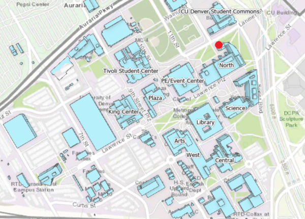 Map of Auraria Campus with FAST Lab location identified in North Classroom Building