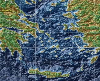 Map of the Agean Sea with bathymetiric imagery in various shades of blue and the land of greece, Crete, Turkey, and smaller islands outlined in light yellow, with green and brown hillshade accents