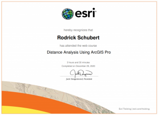 A certificate with an esri emblem at the top of a green and blue globe with black gradicules overlayed; it says esri hereby recognizes that rodrick schubert has attended the web course distance analysis using arcgis pro