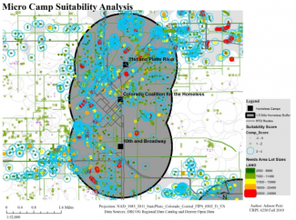 Map of suitability analysis presented as an excerpt from the portfolio item presented here. grey buffer circles, black square symbols