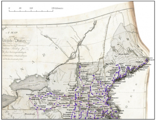 Historic map image of northeastern united states warped to fit a custom projection; purple dots indicating cities, pink lines indicating networks