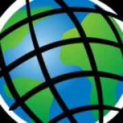 esri logo globe with latitude and longitude lines