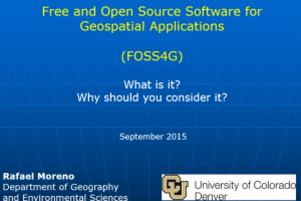 Free and Open Source Software for Geospatial Applications (FOSS4G): What it is? Why should you Consider it?