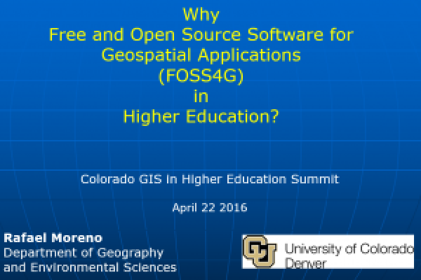 Why Free and Open Source Software for Geospatial Applications (FOSS4G) in Higher Education?