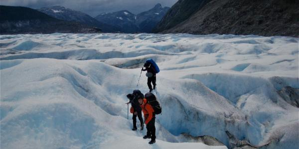 Students traversing glaciers in Patagonia, Chile