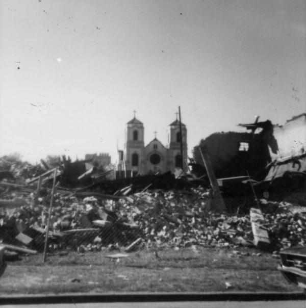 Photo of torn down auraria community