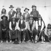 Photo of Arapahoe Natives and White Settlers
