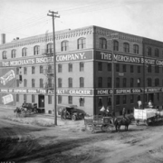 Photo of early business buildings in Auraria