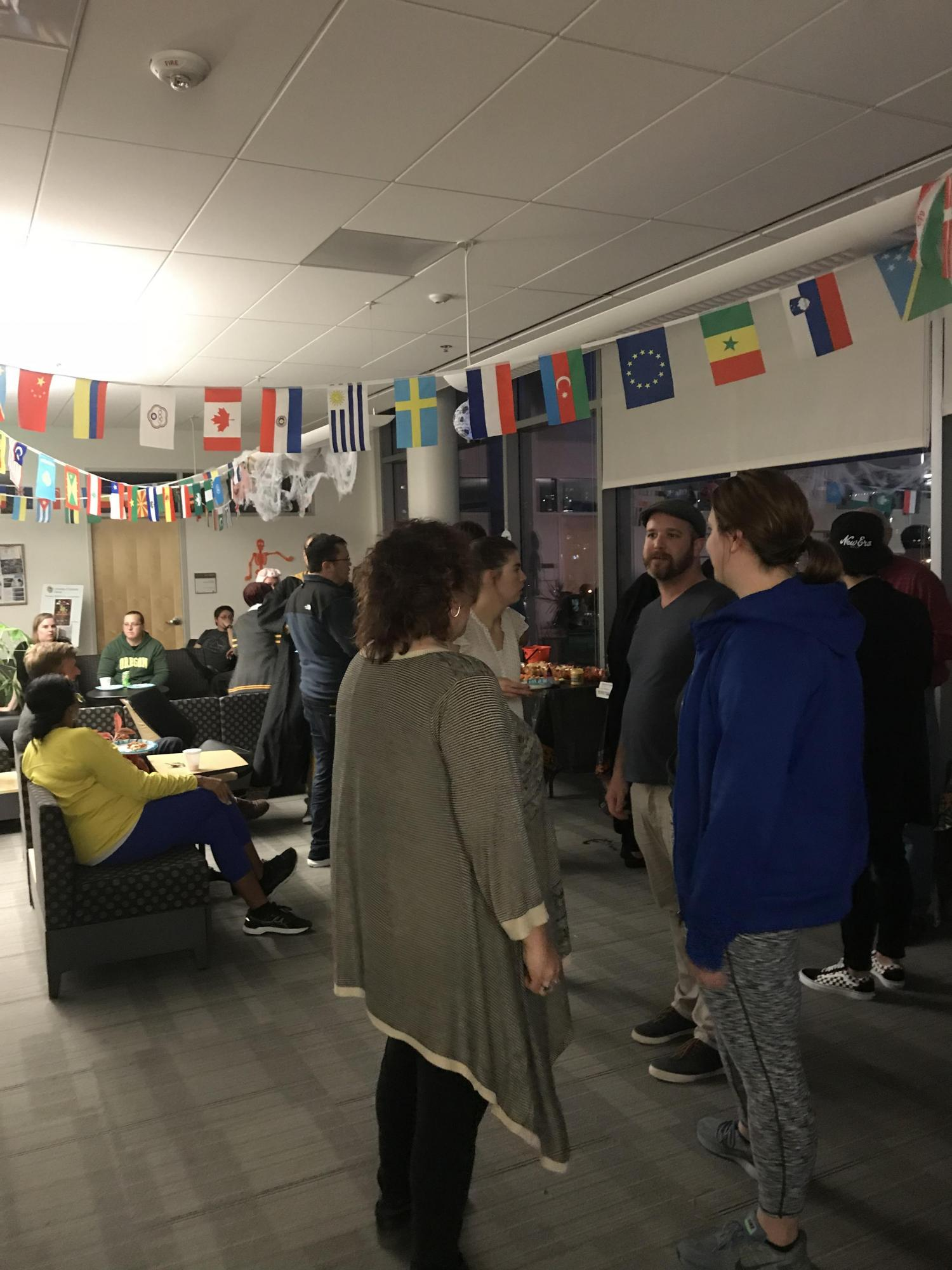 Photo of students enjoying music at the party