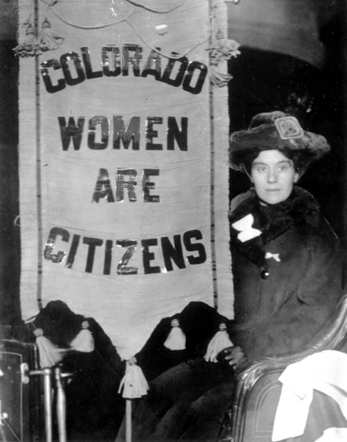 """suffragette sign that reads """"Colorado women are citizens"""""""