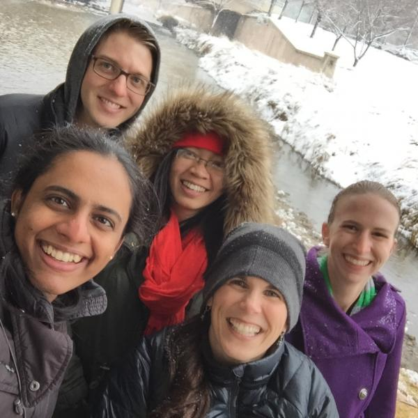 Group photo of the research team in the snow