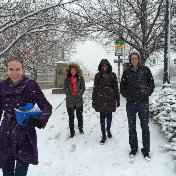 Research team walking through the snow