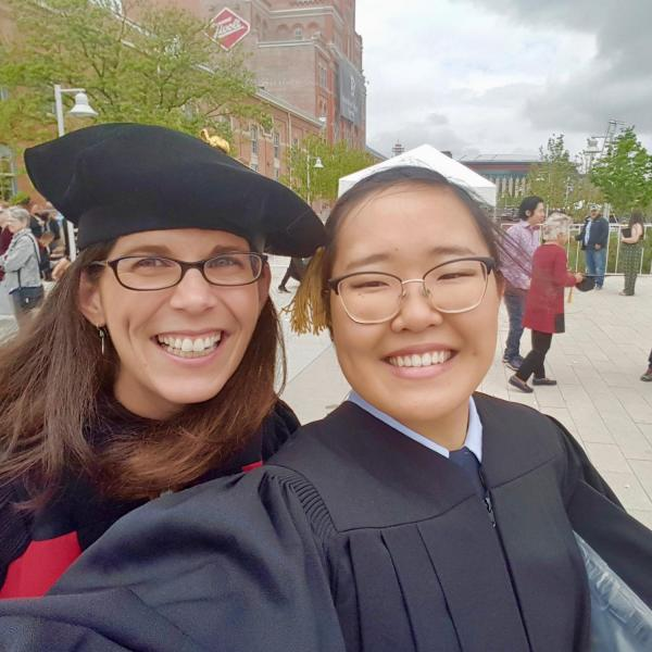 Dr. Mosier celebrating with a graduating student
