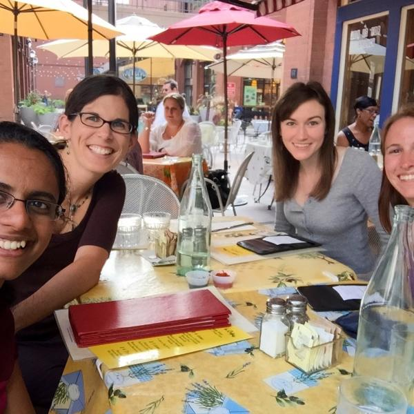 Dr. Mosier at a restaurant with researcher team