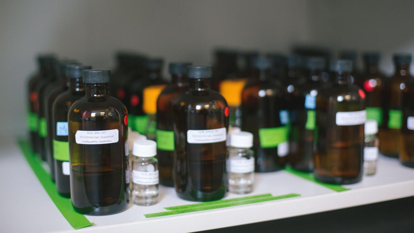 Research samples in bottles