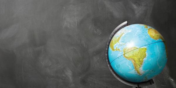 globe and chalk board