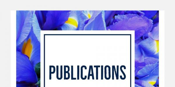 Iris background with publications in text