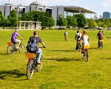 Students bicycling abroad in Berlin.