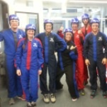 Geography and Environmental Science students and assistant professor at iFLY