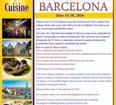 Informational graphic describing the Barcelona trip