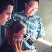 Students and professor looking in a microscope