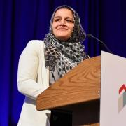 Nadeen Ibrahim accepting the Colorado Student of the Year award from the Denver Metro Chamber Leadership Foundation