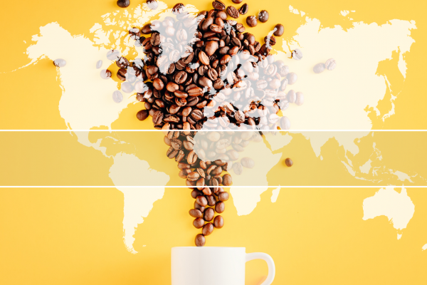 Coffee cup with coffee beans pouring into it against a yellow background. Overlay of world map with indicators showing where coffee is grown in the world.