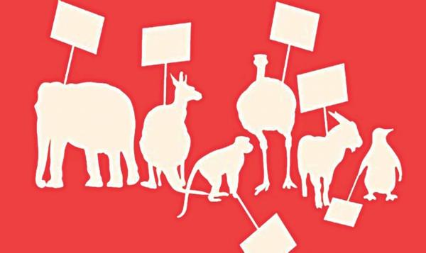 Animal illustrations  hold blank protest signs