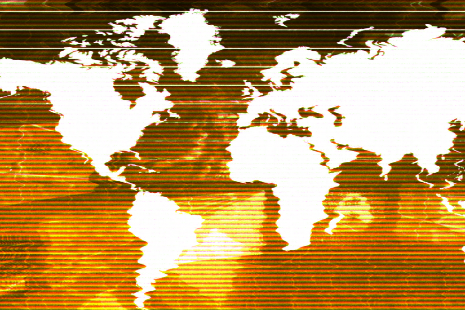 A pixelated and blurred map of the world to represent the complexities of international society.