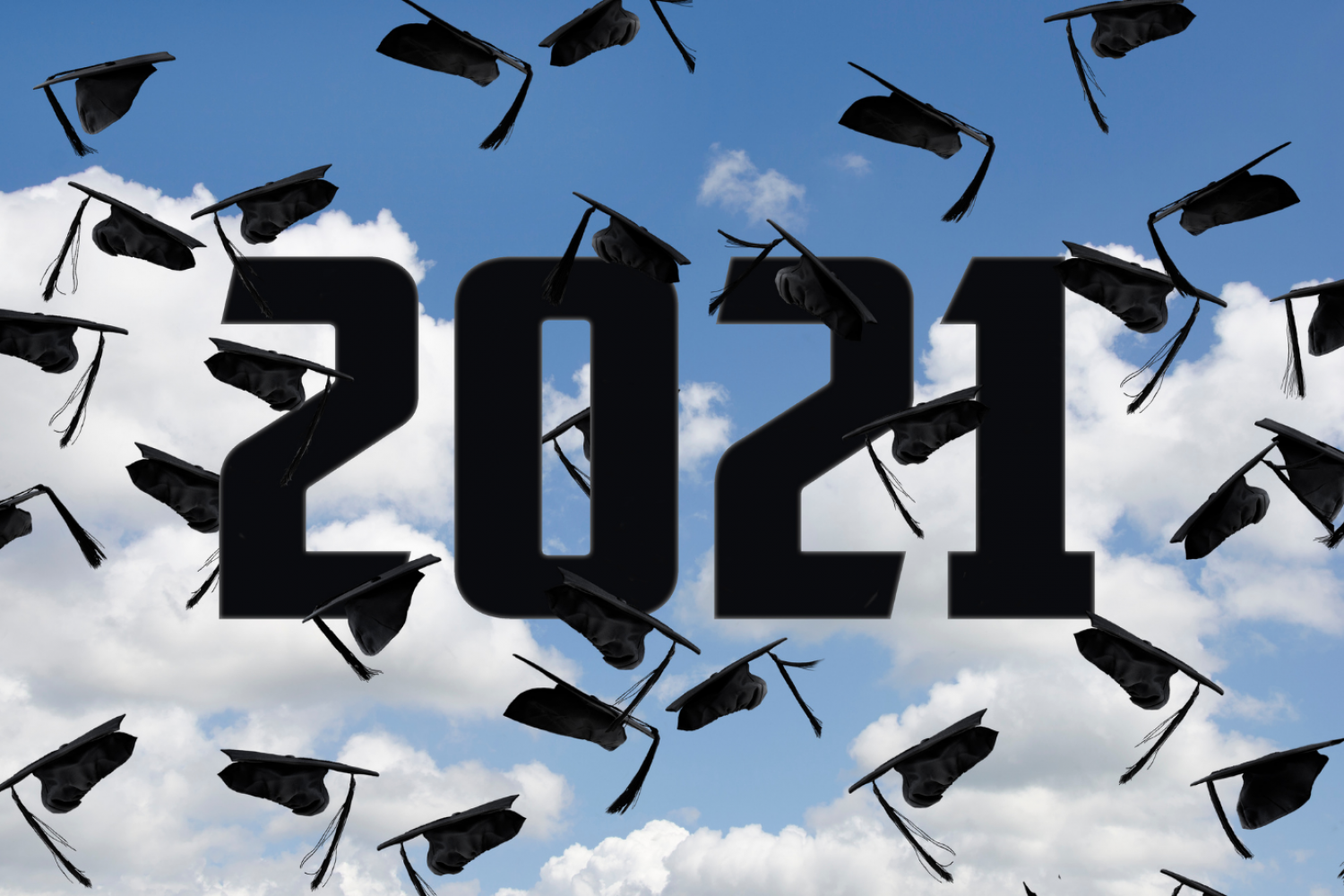 Blue sky backdrop with graduation caps high in the air with year 2021 to indicate it is the graduation for 2021