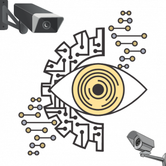 Two security cameras surround a wide-open eye that signifies mass surveillance.